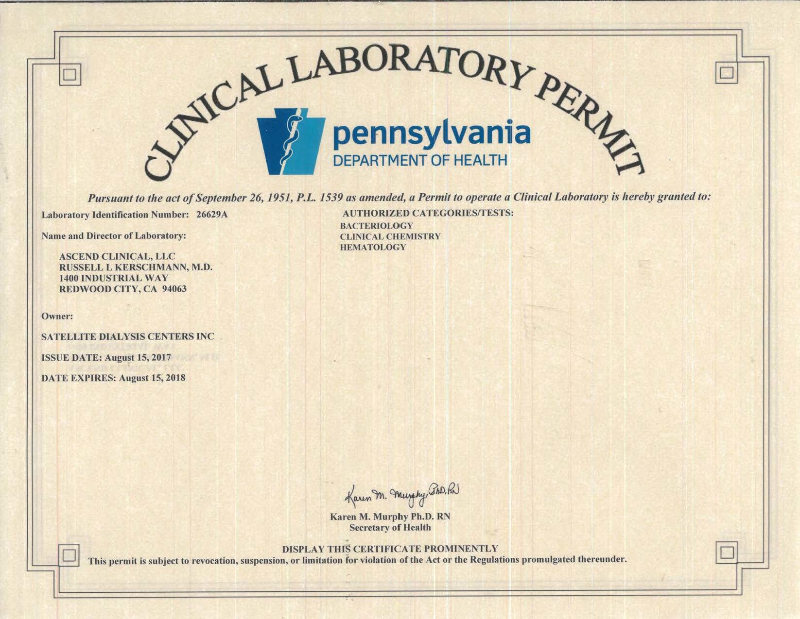 Pennsylvania Clinical Lab Permit_Exp 2018-08-15